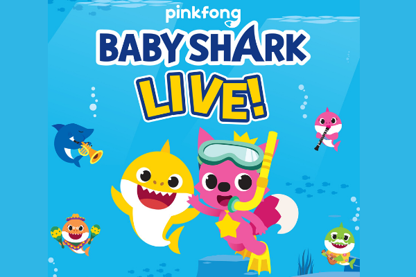 Baby Shark promotional image with all characters underwater.